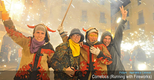 Correfocs Event (Running with Fireworks)