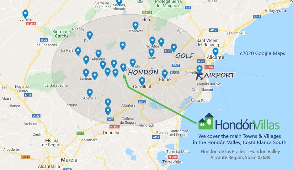 Google Map of the Local Towns to Hondon